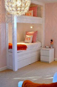 Cute for kids' room one day. Love the minimalist, in-the-wall bunk beds.