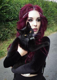 black velvet, fairy head chain & dark plum purple hair.