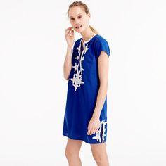 Founded by two friends, Etti Zayeg and Merav Hadari, Gallabia infuses bohemian chic into its comfortable, feminine silhouettes. Its easy pieces feature signature touches like hand-stitched embroidery and bold colors. We especially love this flattering blue mini caftan dress with white rope details. <ul><li>Slim fit.</li><li>Falls above knee.</li><li>Cotton/linen.</li><li>Hand wash.</li><li>Import.</li><li>Select stores.</li></ul>