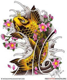 koi fish with cherry blossom tattoos   Koi Fish And Cherry Blossoms Horitoyo Traditional Tattoos