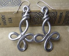 Big Celtic Cross Earrings - Loopy Bliss -  Light Weight Aluminum Wire. $18.00, via Etsy.