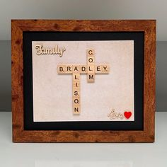 Classic family scrabble frame! 💕 #scrabbleframe Scrabble Frame, Scrabble Art, Scrabble Tiles, Different Colors, First Love, Frames, My Etsy Shop, Handmade Gifts, Words