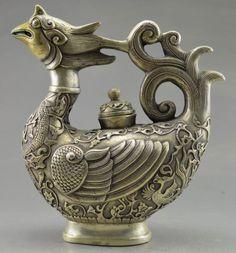 Tibet silver carved phoenix teapot