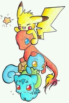 Pokemon from the old days, drawn cute <3