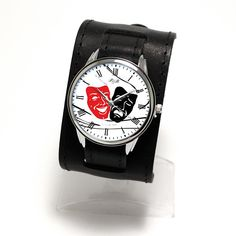 PrideAndBright Theater masks print dial watch with wide leather cuff / Japanese movt / Genuine leather cuff watch Leather Cuffs, Real Leather, Soft Leather, Theater Masks, My Etsy Shop, Brass, Japanese, Jewels, Cuff Watches