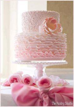 ❥ pink ruffle cake