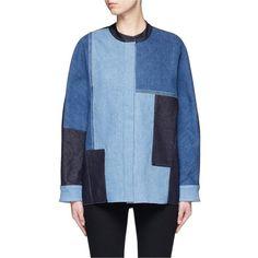 Victoria, Victoria Beckham Patchwork denim jacket (6.419.000 IDR) ❤ liked on Polyvore featuring outerwear, jackets, blue, patchwork denim jacket, colorblock jackets, denim jacket, patchwork jacket and blue jean jacket