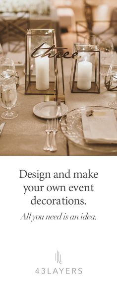 You bring the idea, we bring it to reality. Custom design means we can make your wedding exceptional whether its vintage, rustic, beach or Harry Potter.  Centerpieces * Table Numbers * Stir Sticks * Escort Cards * Cake Toppers * Hashtag Signs * Anything You Dream.