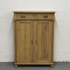 Tall Slim Pine Cupboard With Top Drawer (F8906C)