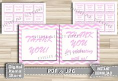 Printable Baby Shower Thank You Tag Pink - Printable Thank You Tag Chevron - Thank You Tag - Favor Thank You Pink Chevron - Instant Download by DigitalitemsShop on Etsy