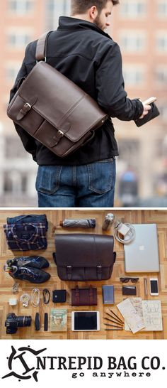 Everything but the kitchen sink fits in the Wayfarer Leather Messenger bag! (we tried, but it was too heavy) www.IntrepidBags.com