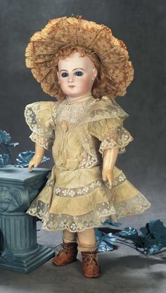 """Beautiful French Bisque Bebe E.J. by Jumeau 18"""" (46 cm.) http://Theriaults.com"""