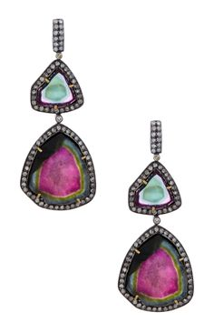 diamond & tourmaline earrings