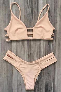 Elastic Spaghetti Straps Solid Color Bikini Set