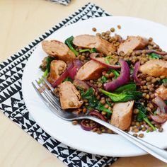 Get creative and try this delicious Quorn Meat Free Sausages with Lentils and Balsamic Caramelised Red Onions recipe.
