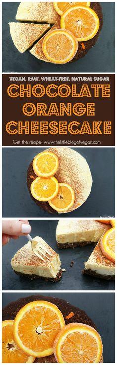 A luxurious RAW chocolate orange cheesecake with real orange juice & zest, with dark chocolate. Vegan, natural sugar, wheat-free, guilt-free