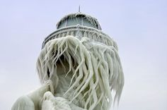 Frozen Lighthouse (Cthulhu-like) on Lake Michigan by way of Neil Gaiman