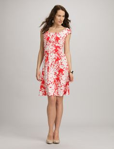 Misses | Dresses | Casual Dresses | Ruched Floral Fit-and-Flare Dress