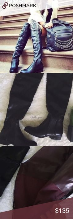 """nwob//report signature gema over knee boots •report signature gems over the knee boots •new without box •black with plumb color insole •faux leather upper •back zip closure  •lightly padded insole •stacked 1.5"""" heel •sole has been marked as to prevent return to store  •size: 8  •please see all pics, read description, and ask questions before purchasing   •no trades• Report Signature Shoes Over the Knee Boots"""