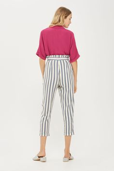Stripe Ruffle Peg Trousers