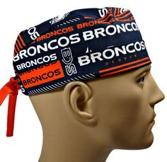 41446a11e031d Men s Adjustable Fold-Up Cuffed or Un-Cuffed Surgical Scrub Hat Cap Handmade  with Denver Broncos Squares fabric