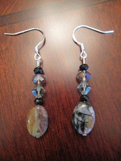 Chara River Charoite with Swarovski Earrings by SmithNJewels, $12.99