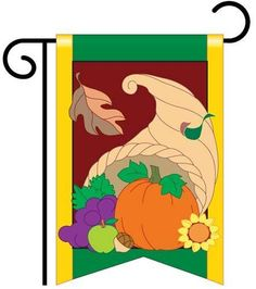 "Cornucopia Garden Flag Indoor/outdoor 13.5 X 18"" by Two Group. $9.99. Dimensions: 13.5"" x 18"". Double sided for durability. Includes free window hangers. Appliqued and embroidered for superior presentation. Made with 100% polyester. This high quality appliqued and embroidered Garden Flag is double-sided and made of 100% polyester. It has a pole hem and includes free window hangers. Dimensions: 13.5"" x 18"". Save 17%!"