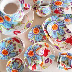 Plato plato cerámica colorido plato plato servir por romyandclare