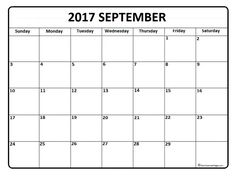 September 2017 monthly calendar printable | 2017 Printable ...