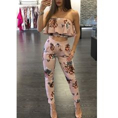 Off Shoulder Sexy Floral Print Jumpsuit Two Piece Backless Club Rompers Women's Jumpsuit Strapless Full Bodysuit Summer Overall Two Piece Jumpsuit, Petite Jumpsuit, Jumpsuit Style, Strapless Jumpsuit, Black Jumpsuit, Rompers Women, Jumpsuits For Women, Cute Casual Outfits, Girl Clothing