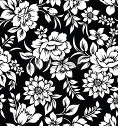 black and white flowers Decorative seamless floral wallpaper Stock Photo… Black And White Flowers, Black And White Wallpaper, Black N White Images, Black White, Black And White Background, Floral Pattern Wallpaper, Fabric Wallpaper, Wall Wallpaper, Tapestry Fabric