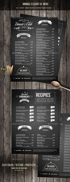 Minimal Elegant A4 Menu Template PSD. Download here: https://graphicriver.net/item/minimal-elegant-a4-menu/17493305?ref=ksioks