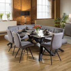 Corner Dining Bench, Glass Dining Table Set, Dining Sets, Dining Rooms, Dining Tables, Fabric Dining Chairs, Chair Fabric, Narrow Table, Grey Table