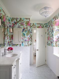 bold floral wallpaper, subway tile wainscot