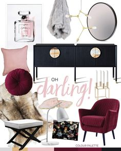 I love this colour palette! Burgundy, pink and black with a touch of gold // TREND: OH DARLING! — Adore Home Magazine