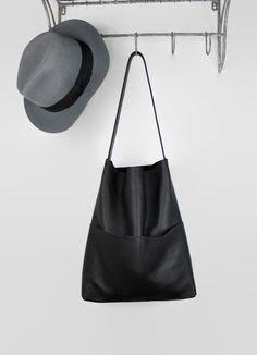 black leather shopper, leather tote bag, everyday bag, market bag, leather shoulder bag, leather tote, hobo