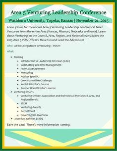 Area 5 Venturing Leadership Conference - Topeka KS - Nov 21, 2015