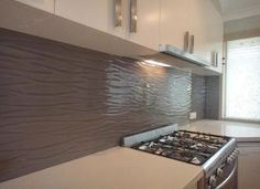 textured glass splashback