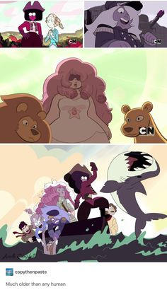 What's really cool that I'm glad they put into this is that they didn't change Rose's clothes because both Connie nor Steven really knew what she fully looked like back then, or at all, other than the mural. Perla Steven Universe, Steven Universe Memes, Gravity Falls, Fanart, Universe Art, Homestuck, Baguio, Cartoon Network, Anime Manga