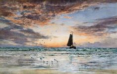 """EARLY MORNING ART Augustus Walford Weedon (1838-1908),  """"Off to the Fishing Grounds"""" (1895)"""