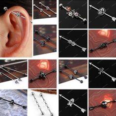 Punk 14g Stainless Steel Long Industrial Bar Ear Cartilage Barbell Body Piercing | eBay