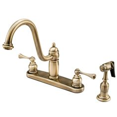 "Kingston Brass KB1113BLBS Heritage  8"" Centerset Kitchen Faucet with Brass Sprayer, Vintage Brass - Price: $249.95 & FREE Shipping over $99"