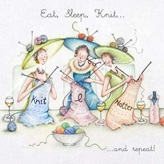 Home to an exquisite range of delightful greeting cards, prints, stationery & gifts Knitting Humor, Crazy Friends, Art Impressions, Best Friends Forever, Whimsical Art, Illustrations, Eat Sleep, Cute Illustration, Pet Birds