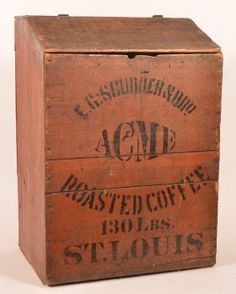 Country store coffee bin, E. Acme on LiveAuctioneers Old Crates, Wooden Crates, Wooden Boxes, Coffee Box, Coffee Store, Coffee Cans, Coffee Life, Old Boxes, Antique Boxes