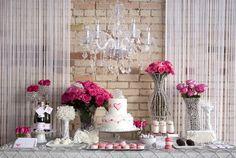 linda mesa de bolo - roses