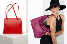 ImagineThis - Photo session with our bags. Pics taken by photographer Silke Mayer. Thank you Silke! left: 'Agatha' small in red organic cowhide; right: 'Softbag' medium in pink/purple cowhide.
