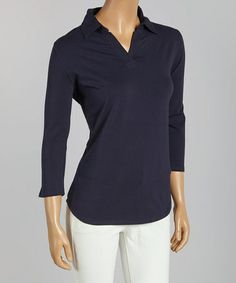 Another great find on #zulily! Navy Pima-Blend Three-Quarter Sleeve Polo - Women & Plus by Jockey #zulilyfinds $14.99 in 5 colors to size 3XXX