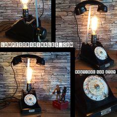 Lampe recup deco loft vintage le téléphone noir  ancien a cadran par lampesoriginales sur Etsy https://www.etsy.com/fr/listing/564787551/lampe-recup-deco-loft-vintage-le #LampRecup