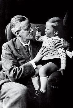 Author James Joyce with his grandson, Stephen James in 1934 Stephen James, James Joyce Poems, Cgi, Famous Poets, Writers And Poets, George Orwell, Writing A Book, Audiobooks, Mad Magazine
