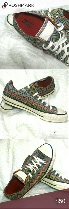 NWOT Coverse Chuck Taylor Missoni Sneaker NWOT Converse All Star Chuck Taylor Missoni Sneaker.  An All-American sneaker goes high fashion in a refreshing collaboration with Italian fashion house Missoni that brings bright, signature patterns to a classic low-profile silhouette.  Textile upper and lining.  Rubber sole.  Never worn, handled some, ultra minor scuffs.  See pics.  Women's size 7.5. Converse Shoes Sneakers